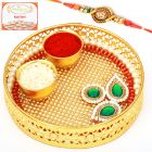 Rakhi Pooja Thalis-Mini Golden Net Pooja Thali with Om Rakhi