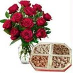 Express Red Roses With Dry Fruits - Diwali Gifts