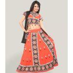 Miscellaneous Orange And Black Block Print Effect Chaniya Choli