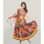 Miscellaneous Spray Paint Effect Multi Color Chaniy Choli