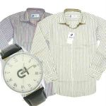Miscellaneous 2 Formal Full Sleeves Stripe Shirt With Free Watch