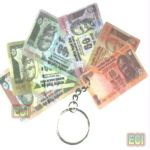 Miscellaneous 2 Currency Keychains Indian rupees notes key chain