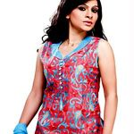 Miscellaneous Red and Blue Churidar suit