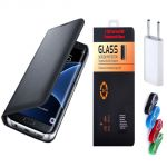Samsung Galaxy A7 2017 A720 Black Leather Flip Cover with 9H 2.5D HD Tempered Glass and Nylon USB Travel Charger by Snaptic