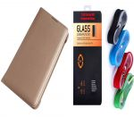 Samsung Galaxy A7 2017 A720 Gold Leather Flip Cover with 9H 2.5D HD Tempered Glass and Nylon USB Cable by Snaptic