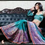 Shimmering Net Sea Green and lilac Shaded Saree