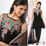 Black Georgette embroidered Churidar Set