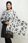 Miscellaneous White and Black Printed Stole