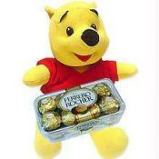Cute Pooh And 16pc Ferrero Rocher Chocolates