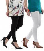 Cotton Lycra Legging For Girls/woman - Set Of 2 - White & Black