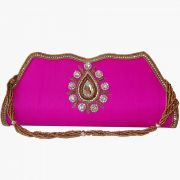 Moksh Pink Silk Clutch  For Womens - (Code - A337RP2805)