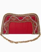 Moksh Red Dupion Silk Clutch  For Womens - (Code - A960RD210)