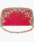 Moksh Red Dupion Silk Clutch  For Womens - (Code - A961RD210)
