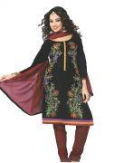 Black & Mahroon Designer Dress Material