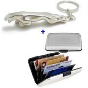 Stylish Aluma Alluminium Credit Card Wallet & Jaguar Metal Keychain-keyring