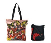 Combo Of Pick Pocket Colourful Butterfly Tote With Black Small Sling Bag