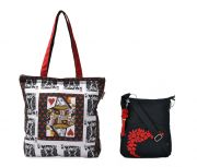 Combo Of Pick Pocket Queen Card Tote With Black Small Sling Bag