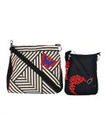 Combo Of Pick Pocket B&W Stripe Crossbody Sling With Black Small Sling Bag