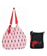 Combo Of Pick Pocket  Tassel Red And Blue Jholi With Black Small Sling Bag