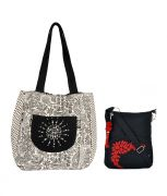 Combo Of Pick Pocket Beautiful Hand  Embroidered Jholi With Black Small Sling Bag