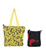 Combo Of Pick Pocket Beautiful Yellow Flower Shopper Bag With Black Small Sling Bag