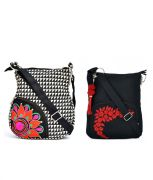Combo Of Pick Pocket Colourful Side Pocket With Metro Prints With Black Small Sling Bag.