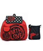 Combo Of Pick Pocket Lovely Red Love Canvas Back Pack With Black Small Sling Bag