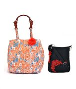 Combo Of Pick Pocket Attractive Summer Beach Bag With Wood Look Handel With Black Small Sling Bag .