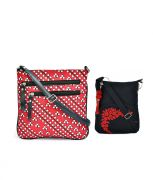 Combo Of Pick Pocket Tribe White & Red Canvas PU Crossbody Sling With Tassel With Black Small Sling Bag