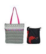 Combo Of Pick Pocket Black And White Printed Tote With Multi Coloured Lace With Black Small Sling Bag