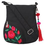 Black Sling With Red Flower Embroidery