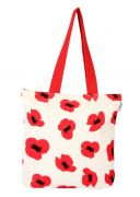 Pick Pocket Canvas  Popy Printed Tote Bag