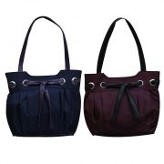 Fostelo Set Of 2 ( Blue & Purple) Bow Handbags