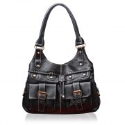 Fostelo Black Multi Pockets Leather Handbag