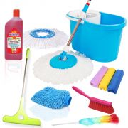 Kawachi 9 In 1 Combo Pack Best Floor Cleaning Spin Mop & Bucket System