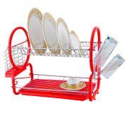 Kawachi Stainless Steel Chrome 2 Tier Dish Drainer Rack Glass Utensil-red