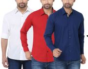 Stylox Pack Of 3 Stylish Multicolor Shirts For Men