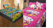 PURSHO Princess Pink Baby Bed Sheet Pillow And Angry Bird Multicolor Bed-sheet