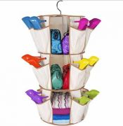 Smart Carousel Organiser 24 Pockets 3 Shelf Organizers Shoe Rack