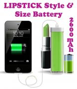 Gadget Hero's Lipstick Design 2600 MaH Portable Power Bank External Battery
