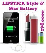 Gadget Hero's Lipstick Design 2600 MaH Portable Power Bank External Battery