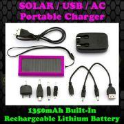 Gadget Hero's 1350mAh Solar, USB, AC Power Portable External Battery Charge