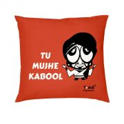 Yedaz Satin Filled With Polyfibre 16x16 Red Bollywood Cushion - Tu Mujhe Kabool