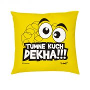 Yedaz Satin Filled With Polyfibre 16x16 Yellow Bollywood Cushion -tumne Kuch Dekha