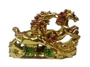 Feng Shui Three Running Horses For Victory, Fame And Luck ( Golden Colour )