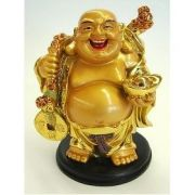 Laughing Buddha Lifting A Money Bag (4 Inches) Money Laughing Buddha
