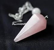 Rose Quartz Crystal Faceted Conical Shape Dowser (Crystal Healing)