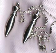 White Metal Bullet Shape Healing Dowser Pendulum (Crystal Healing)