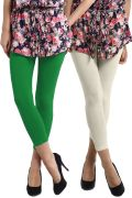 Set Of 2-RHAM Parrot Green & Off White Cotton Lycra Capris Leggings