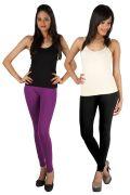 Pack Of 2 - Rham Purple & Black Cotton Lycra Slim Fit Leggings